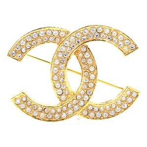 Gold Timeless Cc Smoked Crystals  Brooch Pin